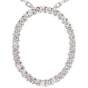 Diamond Oval Shape Women Pendant Gold Necklace 2.7